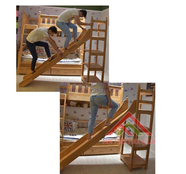 Giường tầng có cầu trượt và ngăn kéo đa năng hiện đại