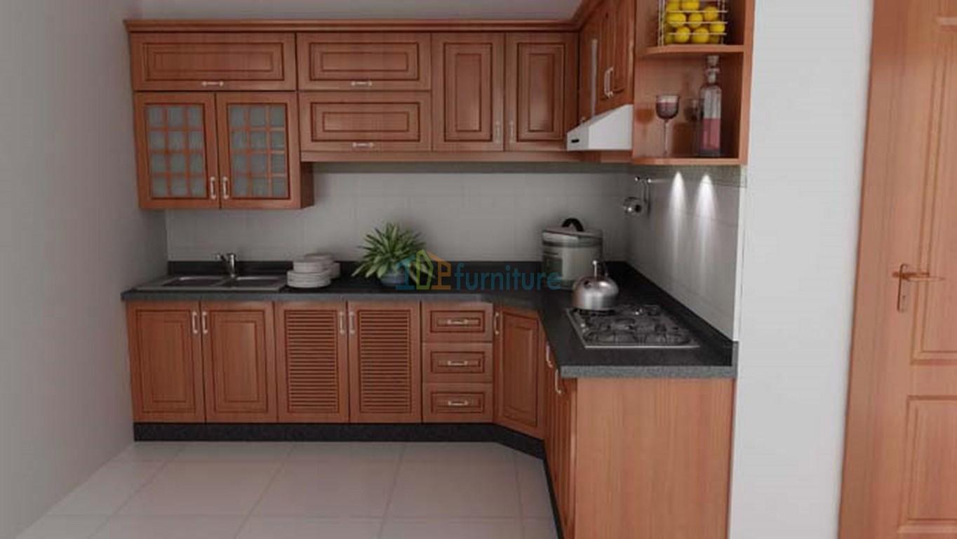 tủ bếp gỗ sồi nga đẹp hiện đại