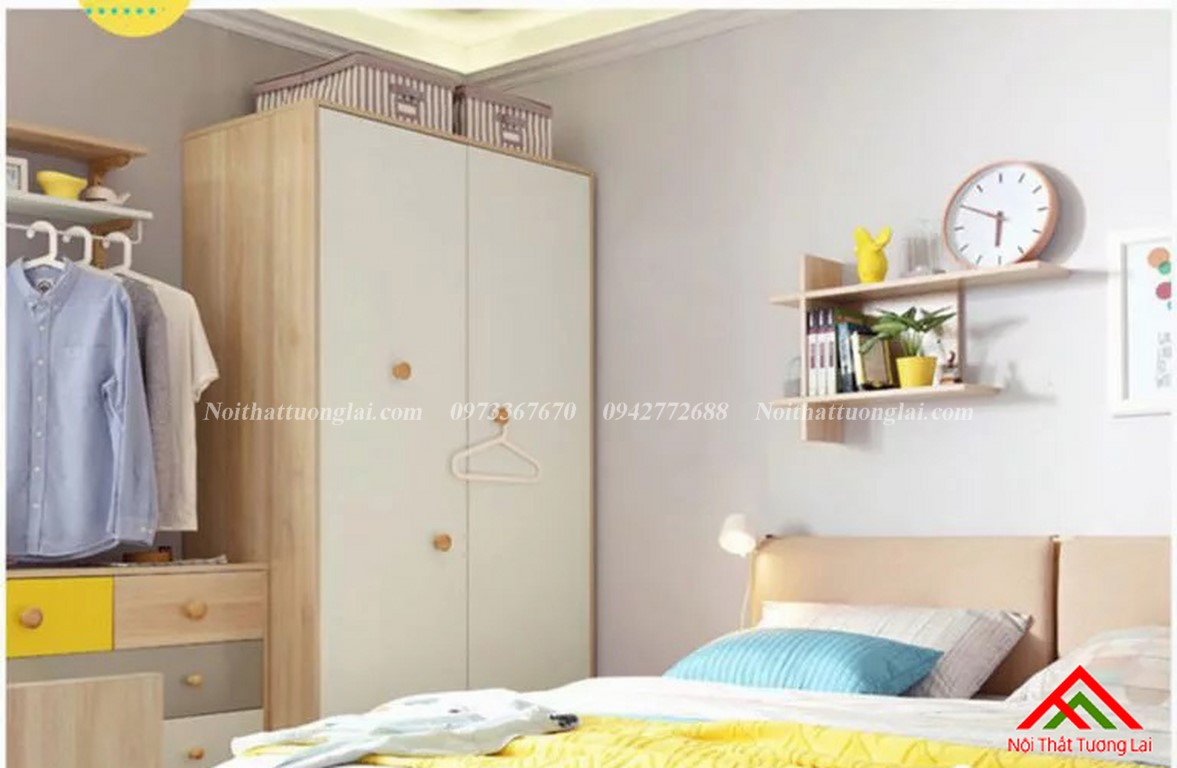Tủ quần áo trẻ em bằng gỗ QA6807 7