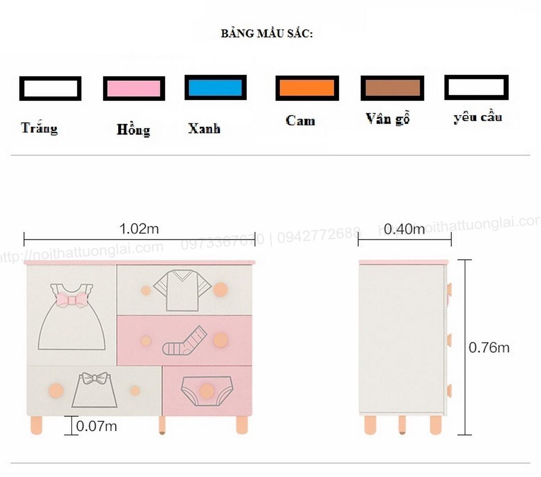 Tủ quần áo trẻ em sơ sinh đẹp QA6801 11