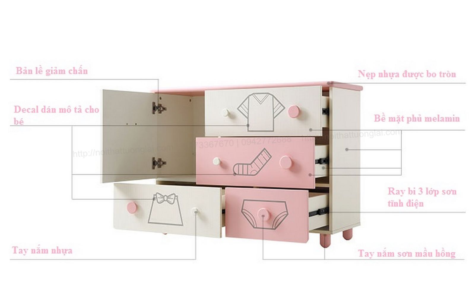 Tủ quần áo trẻ em sơ sinh đẹp QA6801 10