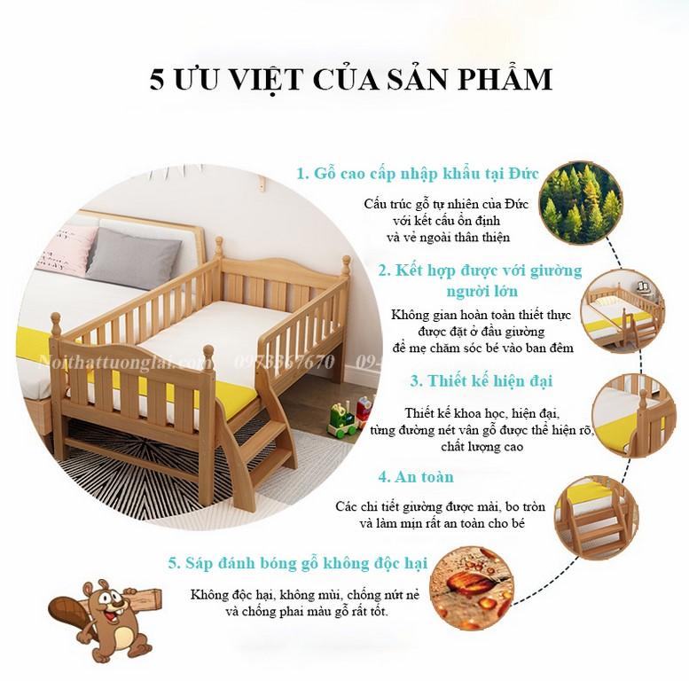 Giường cũi cho bé GB6812 tiện lợi