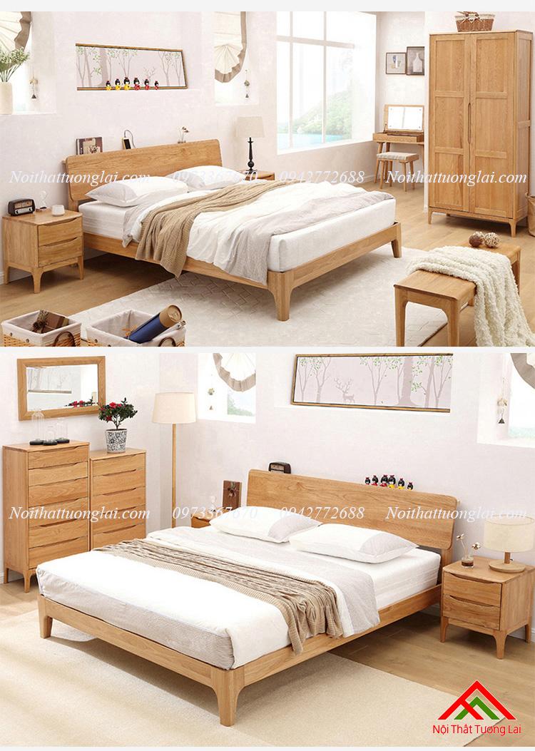 Giường gỗ sồi GN6812 thiết kế thông minh, hiện đại