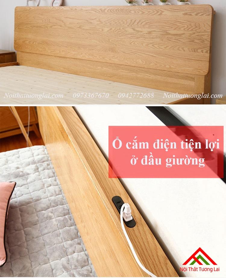 Giường gỗ sồi GN6812 thiết kế thông minh, hiện đại 12