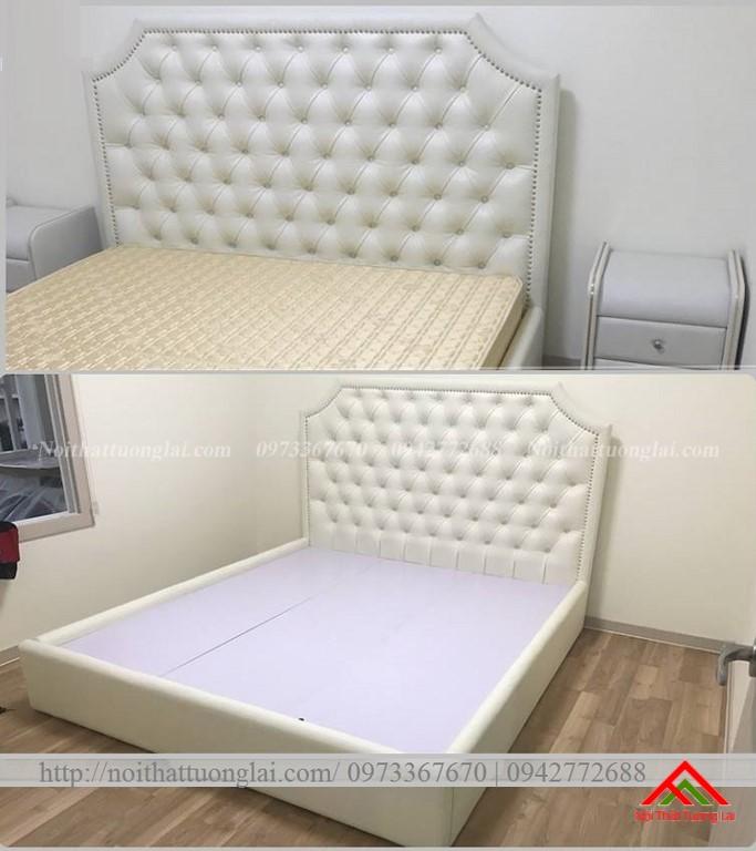 Giường ngủ bọc nỉ thanh lịch GN6815