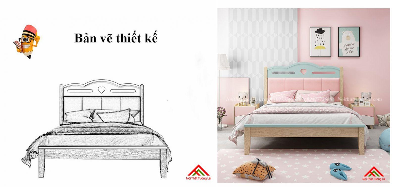 Giường ngủ cho bé gái GB6810 đẹp miễn chê 8