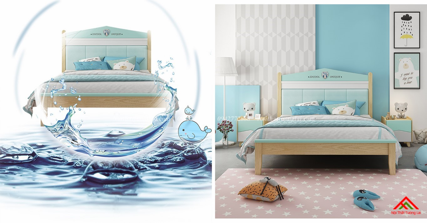 Giường ngủ cho bé trai GB6809 thiết kế an toàn 1