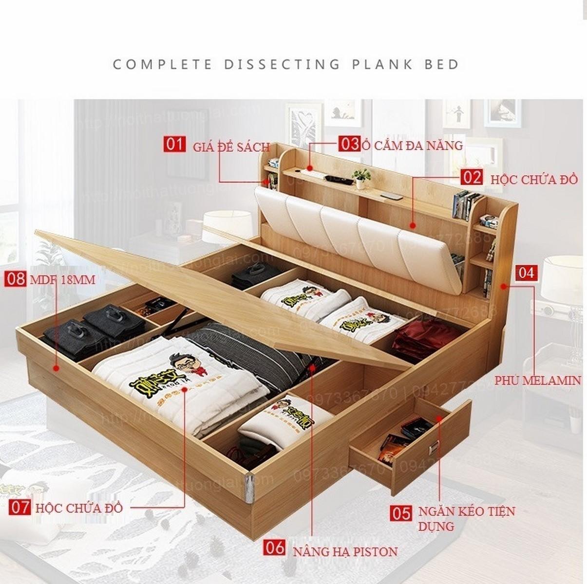 Giường ngủ đẹp hiện đại 8 chức năng GN6804