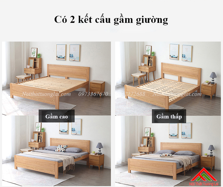 Giường ngủ gỗ sồi GN6811 11