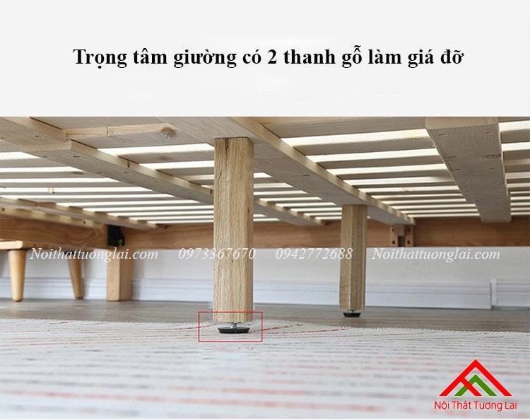 Giường ngủ gỗ sồi GN6813 chân cao 4