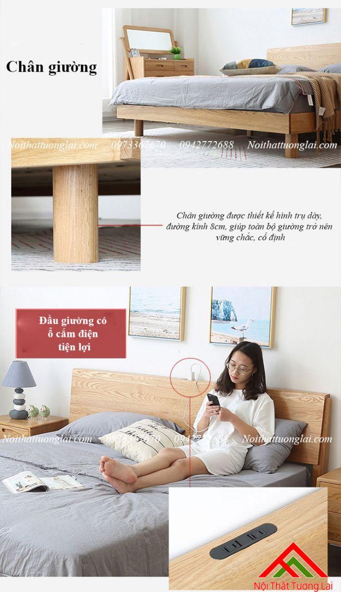 Giường ngủ gỗ sồi GN6813 chân cao 8