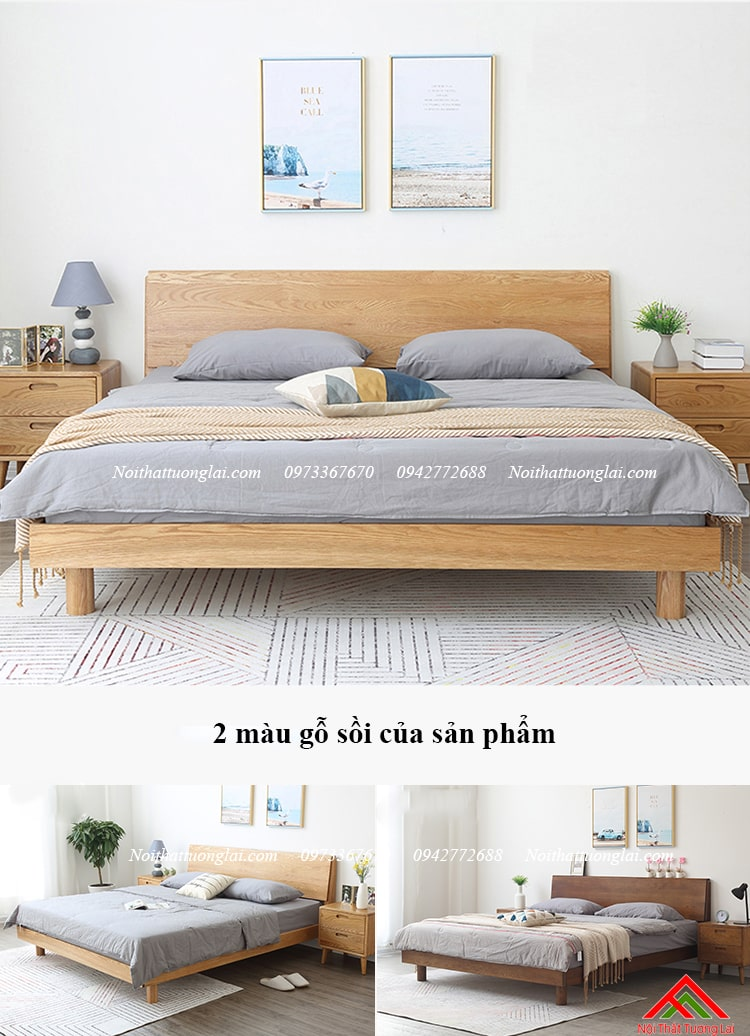 Giường ngủ gỗ sồi GN6813 chân cao 3