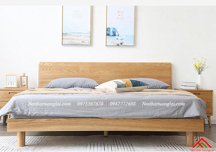 Giường ngủ gỗ sồi GN6813 chân cao 1
