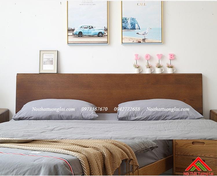 Giường ngủ gỗ sồi GN6813 chân cao 9