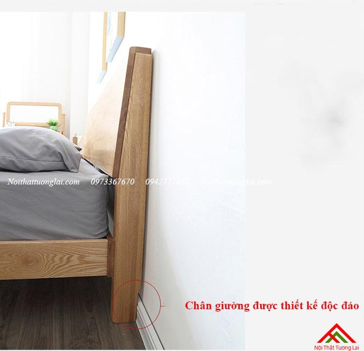 Giường ngủ gỗ sồi GN6813 chân cao 10