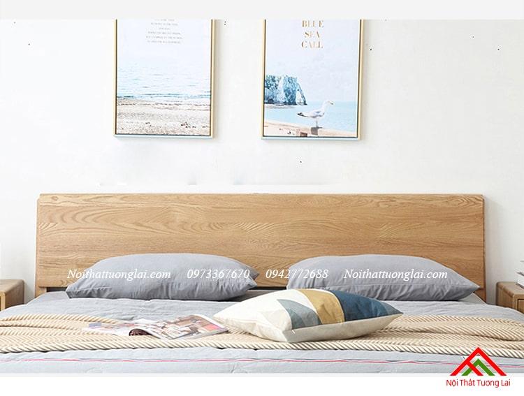 Giường ngủ gỗ sồi GN6813 chân cao 7