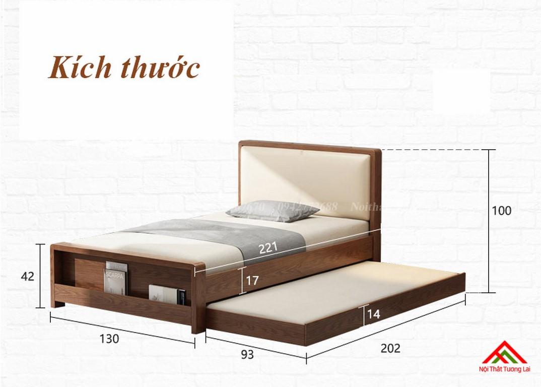 Giường ngủ gỗ tự nhiên có thêm giường phụ GN6823 2