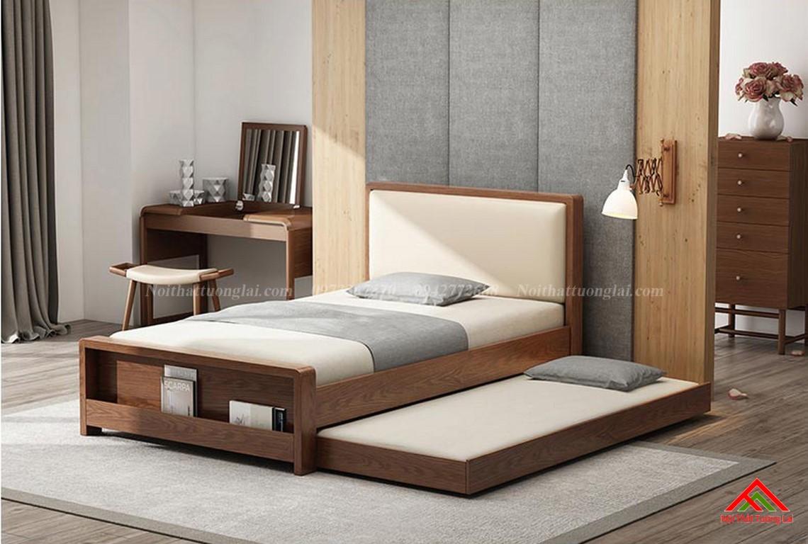 Giường ngủ gỗ tự nhiên có thêm giường phụ GN6823 1
