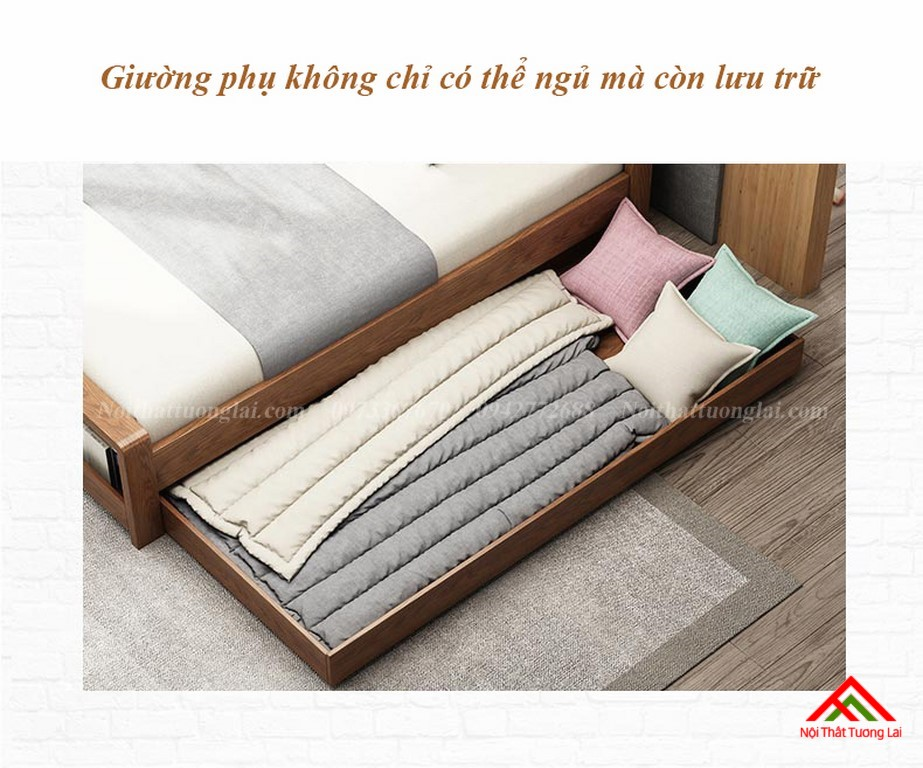 Giường ngủ gỗ tự nhiên có thêm giường phụ GN6823 8