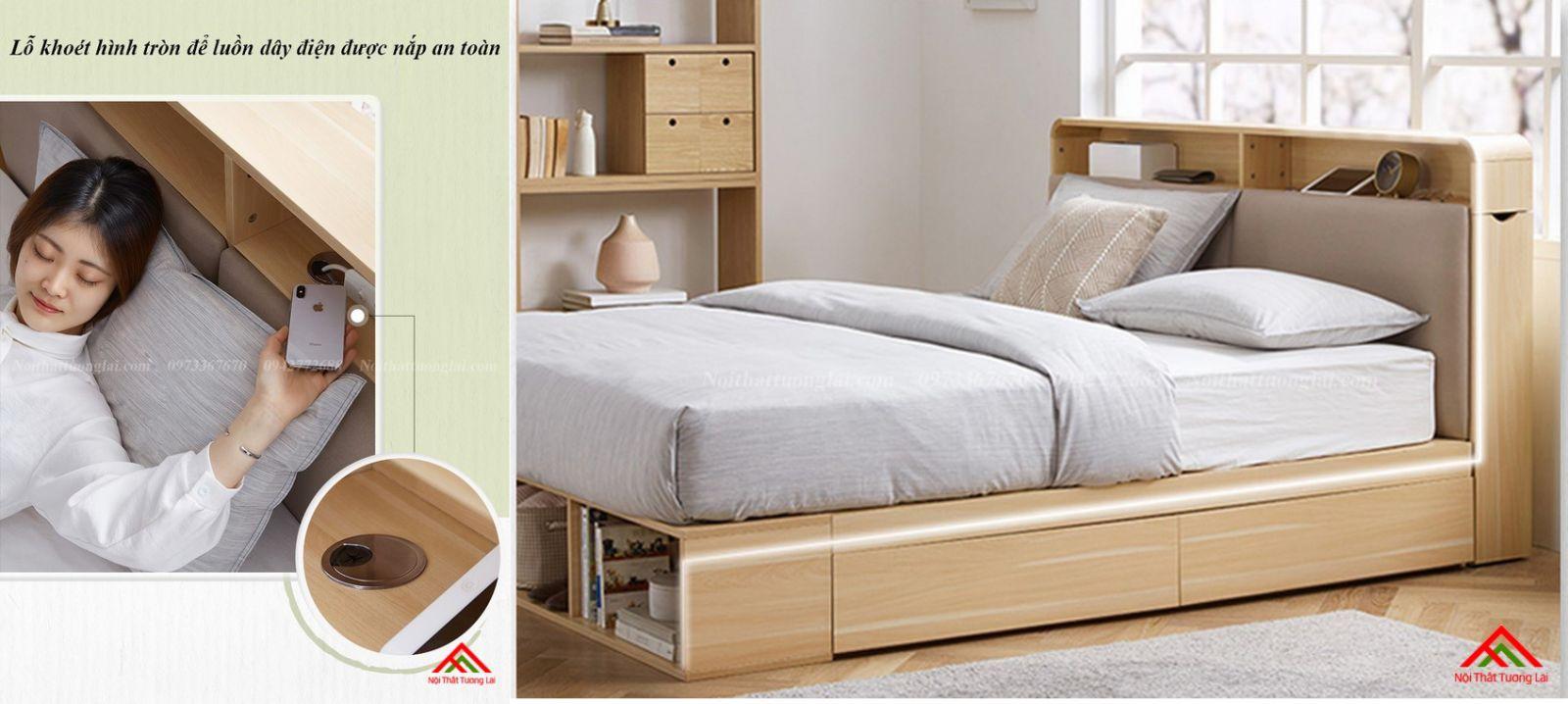 Giường ngủ hộp GN6822 với nhiều ngăn lưu trữ đồ đa dạng 6