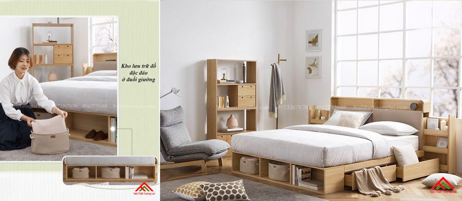 Giường ngủ hộp GN6822 với nhiều ngăn lưu trữ đồ đa dạng 11