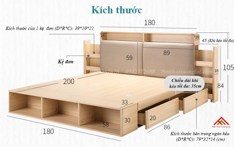 Giường ngủ hộp GN6822 với nhiều ngăn lưu trữ đồ đa dạng 2