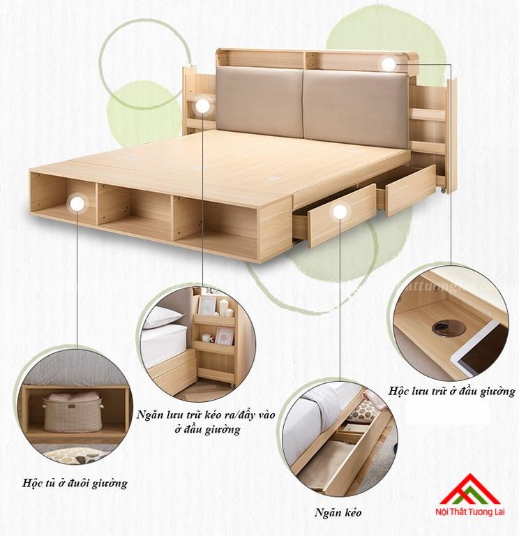 Giường ngủ hộp GN6822 với nhiều ngăn lưu trữ đồ đa dạng 3