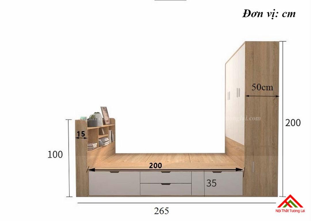 Giường ngủ hộp thông minh liền tủ quần áo GN6820 2