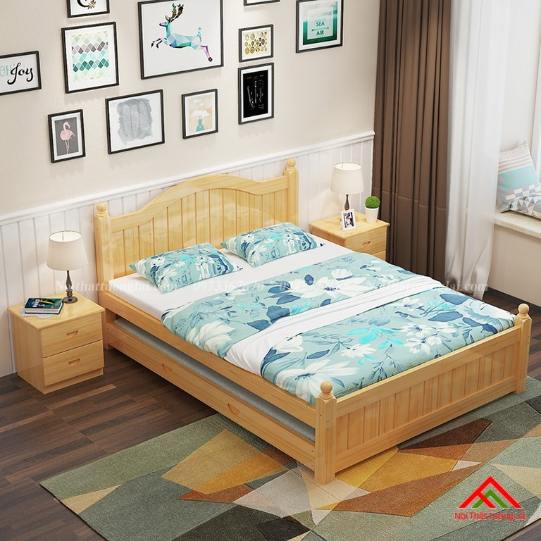 Giường ngủ trẻ em gỗ tự nhiên GB6803