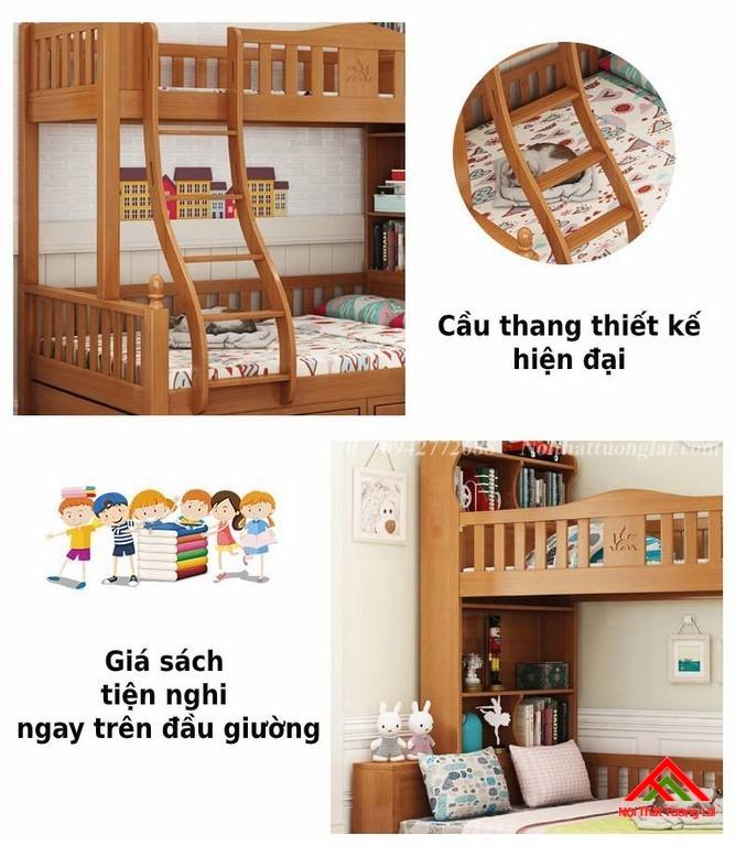 Giường tầng cầu thang đứng có kệ sách GT6825 5