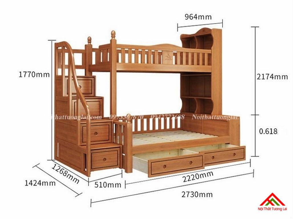 Giường tầng cầu thang hộp có kệ sách GT6826 2