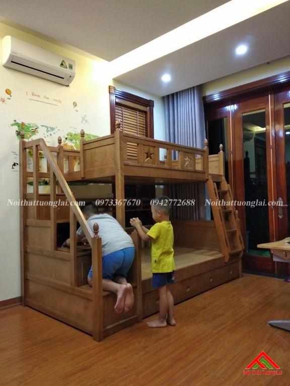 Hình ảnh thực tế giường tầng gỗ tự nhiên GT6820 7