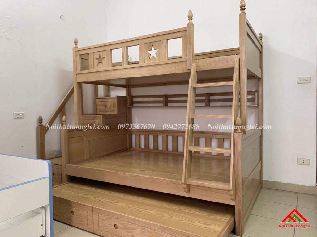 Hình ảnh thực tế giường tầng gỗ tự nhiên GT6820 5