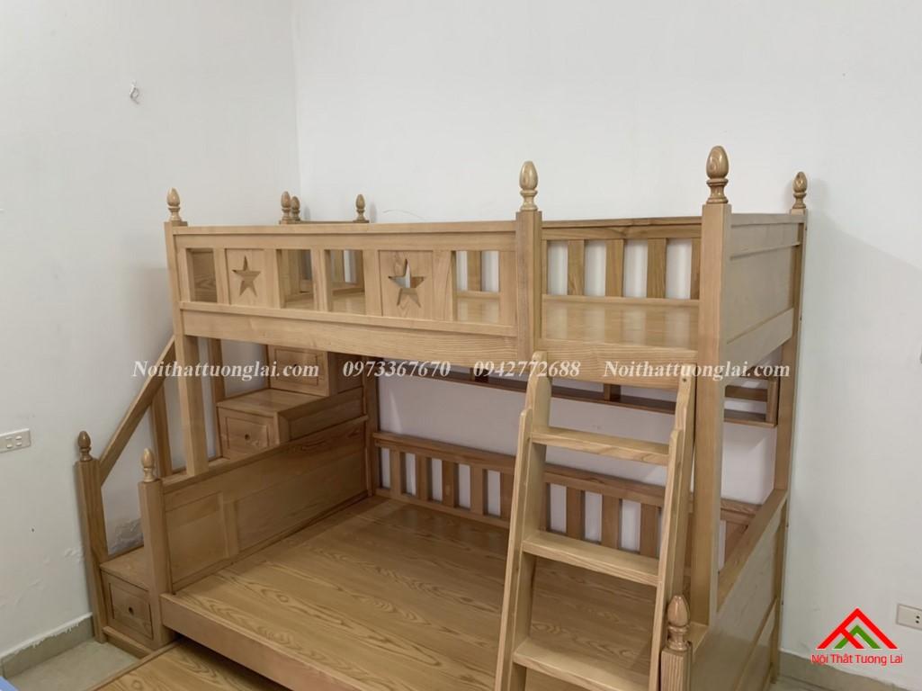 Hình ảnh thực tế giường tầng gỗ tự nhiên GT6820 2