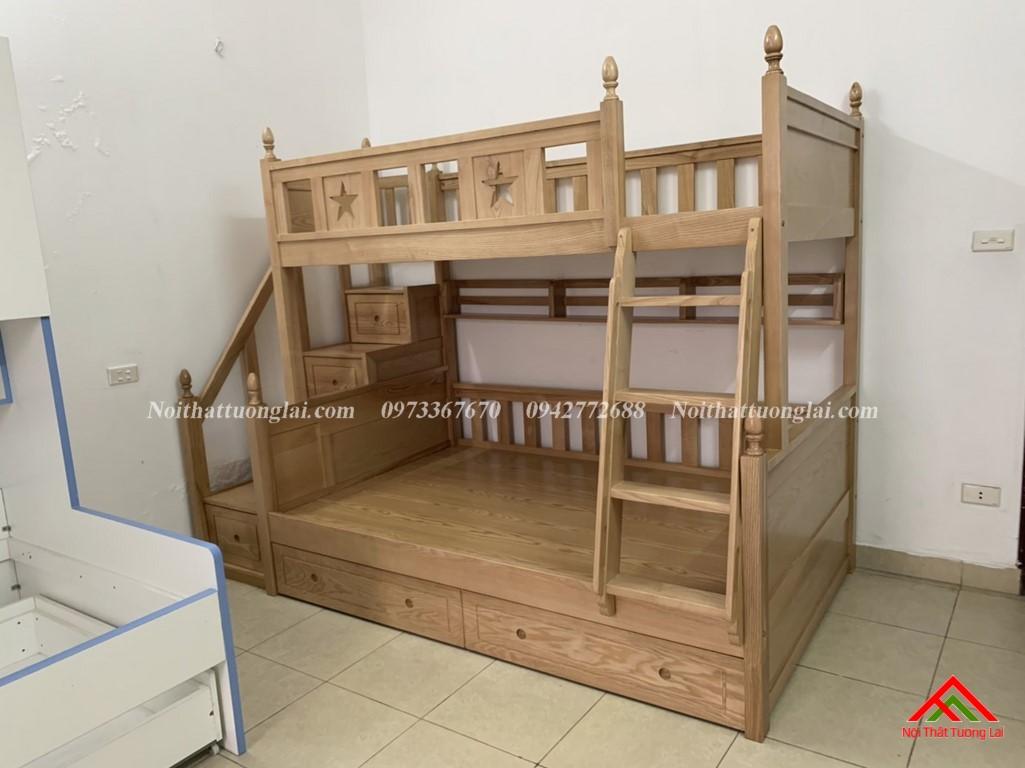 Hình ảnh thực tế giường tầng gỗ tự nhiên GT6820 1