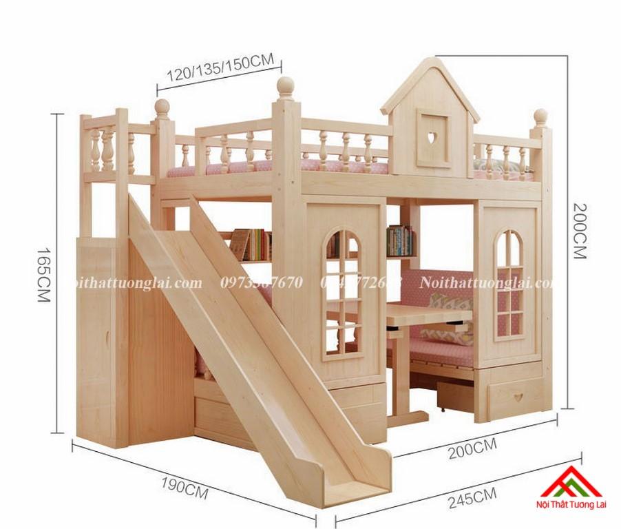 Giường tầng kết hợp cầu trượt cho bé GT6803 3