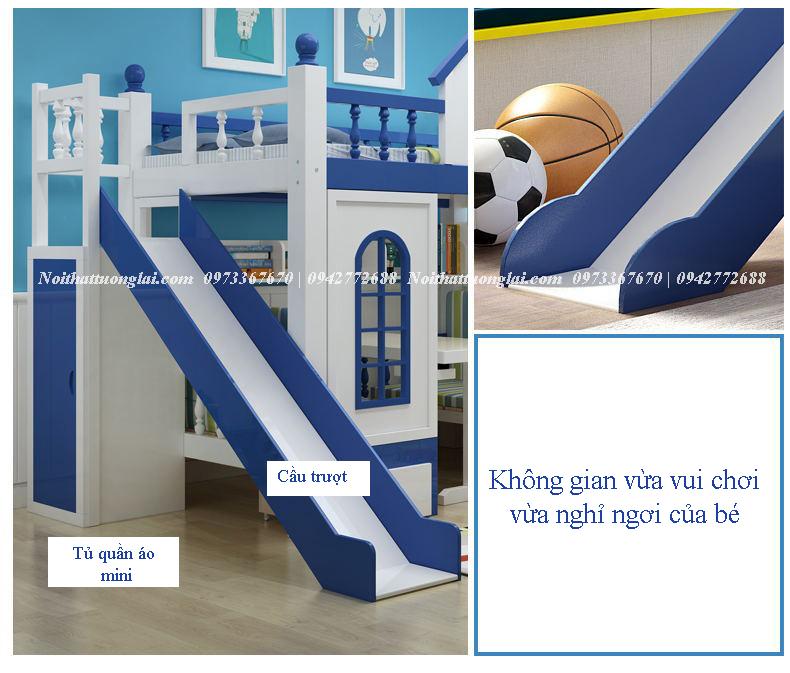 Giường tầng kết hợp cầu trượt cho bé GT6803 9