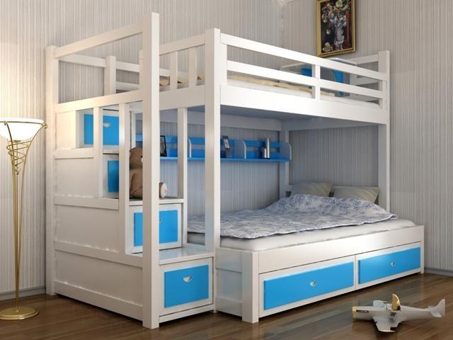 Thiết kế giường tầng cho bé - kết hợp bàn học cho bé GT6805
