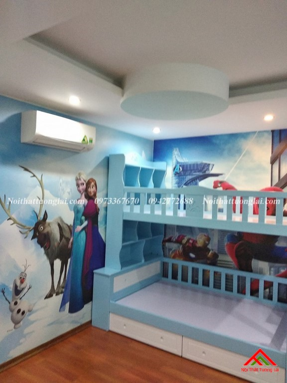 Giường tầng cho bé có kệ sách GT6825