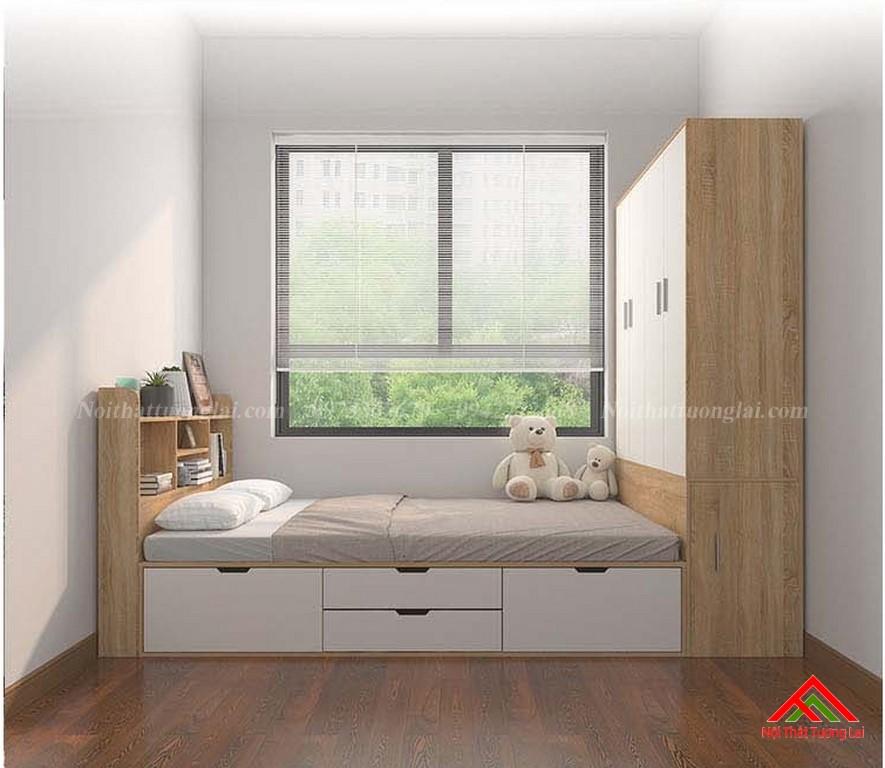 Giường trẻ em kết hợp tủ quần áo vô cùng tiện lợi GB6813 11