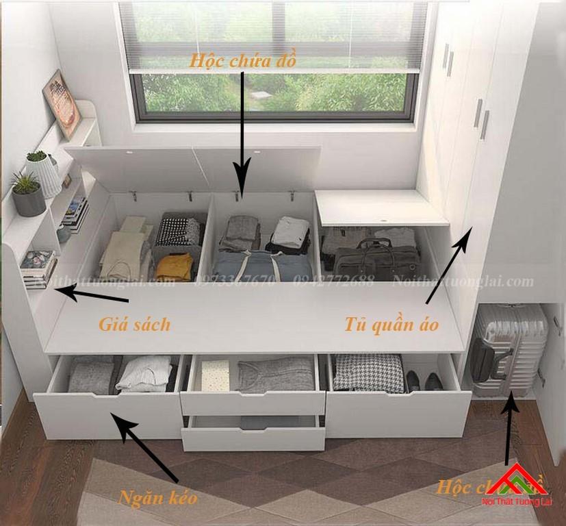 Giường trẻ em kết hợp tủ quần áo vô cùng tiện lợi GB6813 3