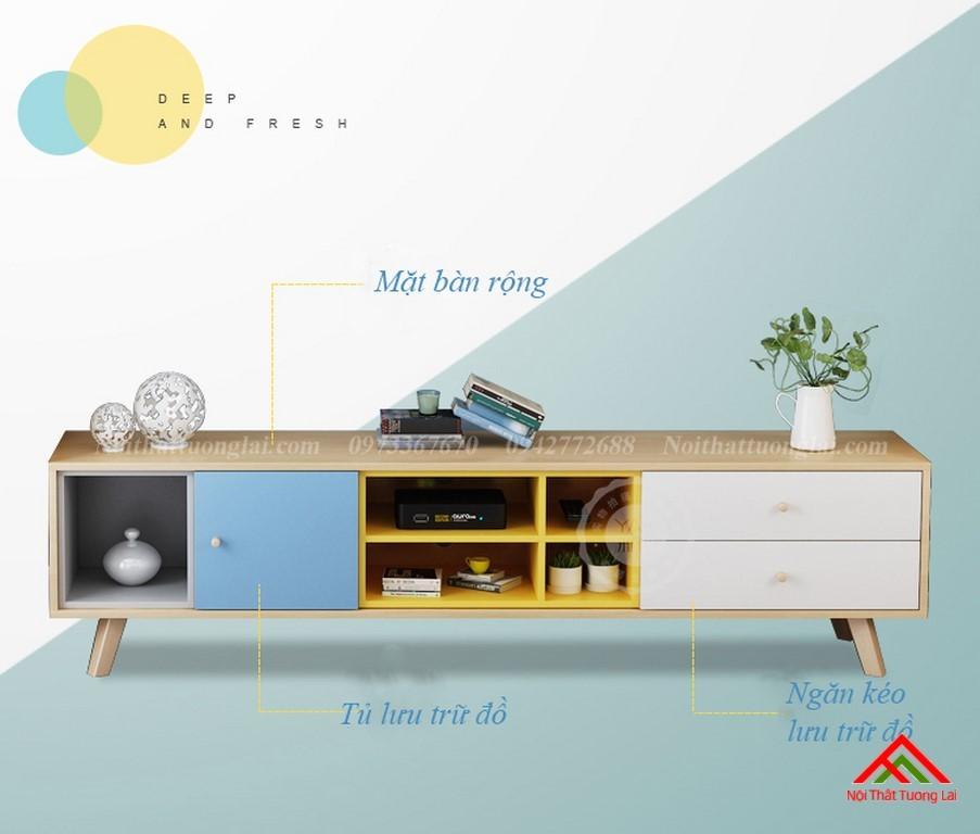 Kệ tivi chân gỗ kết hợp kệ trang trí đa năng KE6806 15