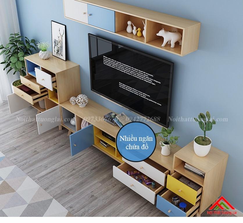Kệ tivi chân gỗ kết hợp kệ trang trí đa năng KE6806