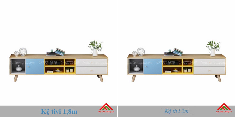 Kệ tivi chân gỗ kết hợp kệ trang trí đa năng KE6806 9