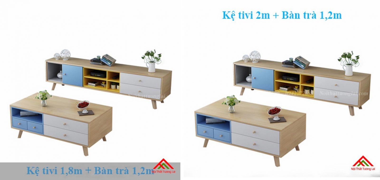 Kệ tivi chân gỗ kết hợp kệ trang trí đa năng KE6806 10