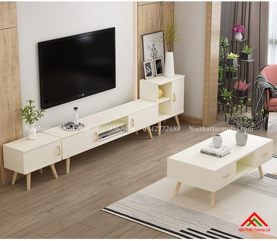 Kệ tivi gỗ công nghiệp chân cao gỗ sồi tự nhiên KE6805