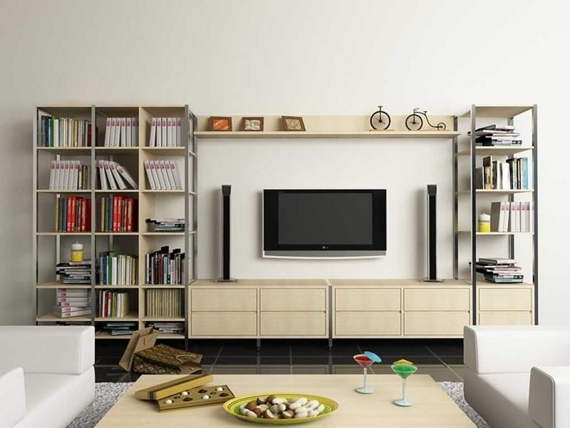 Kệ tivi gỗ có kết hợp tủ sách