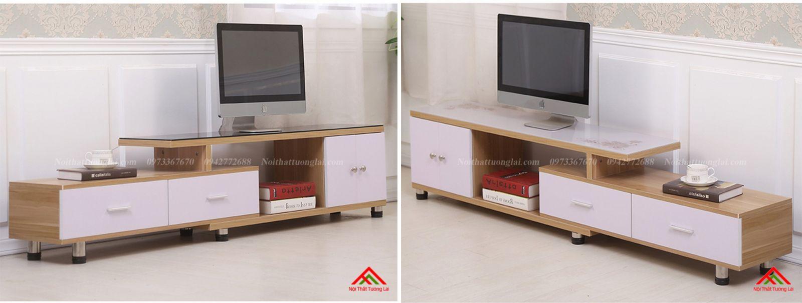 Kệ tivi gỗ mặt kính vẻ đẹp hiện đại KE6808 10