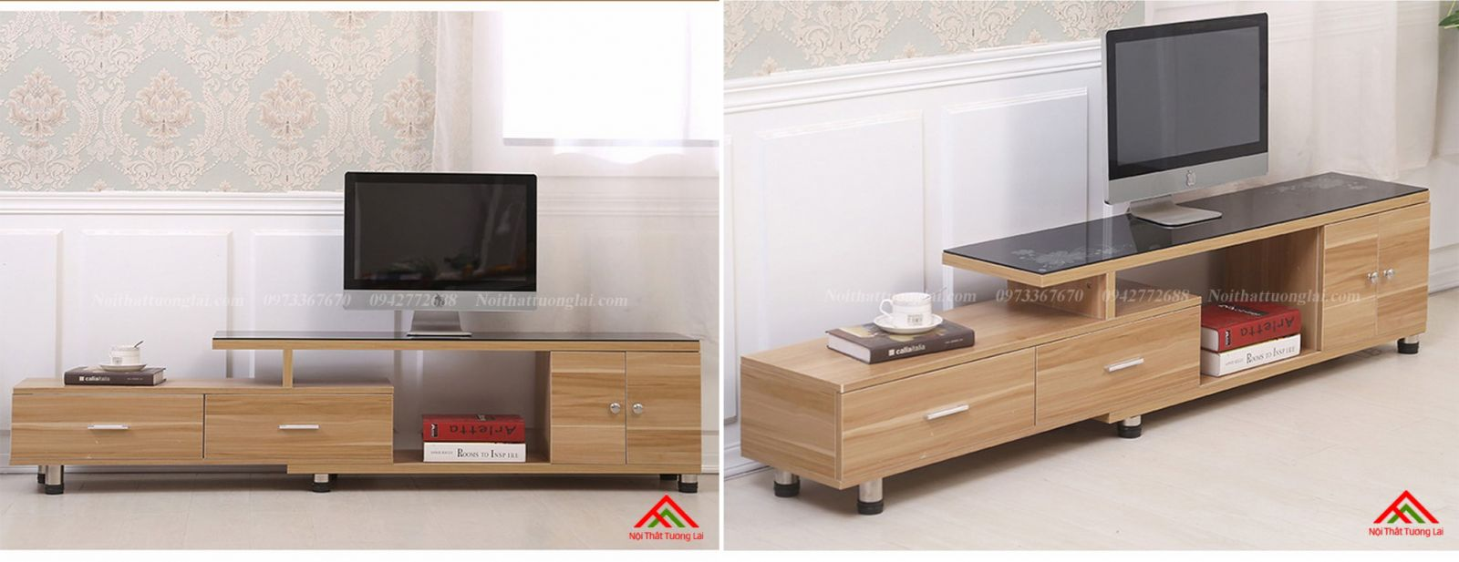 Kệ tivi gỗ mặt kính vẻ đẹp hiện đại KE6808 9