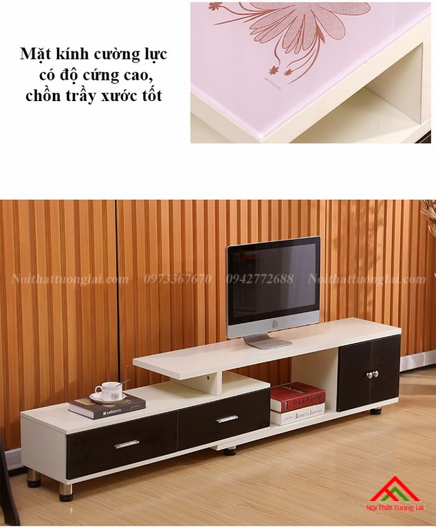Kệ tivi gỗ mặt kính vẻ đẹp hiện đại KE6808 3